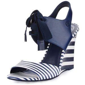 TORY Burch nautical wedge sandals 6.5
